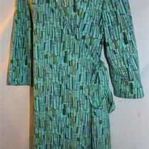 Dani Max 16 Aqua Blue Wrap Dress Atomic Retro 60s Style Geometric Print Photo