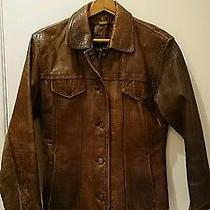 Danier Leather Brown Croc Print Leather Jacket Photo