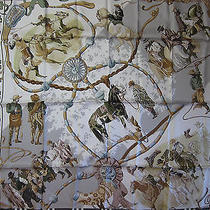 Dans Les Branches De l'ombu Hermes Scarf (New-Tags) 100% Silk 90cm Carre  Photo