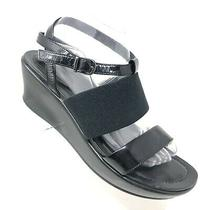 Dansko Addison Wedge Sandal Black Patent Leather Ankle Strap Size 40 / 9.5 - 10 Photo