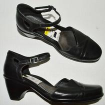 Dansko Roxy Sz 9 M 39 Black Leather Ankle Strap Heels Shoes Photo