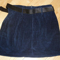 Dark Blue Exp Express Belt Corduroy Striped Short Mini Skirt  Jr 9/10 Unlined Photo