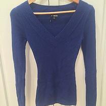 Dark Blue Long Sleeve Express v-Neck Sweater Xs Photo