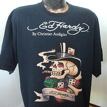 Dark Blue T Shirt Ed Hardy by Christian Audigier Cigar Smoking Skull Dice 2xl Photo