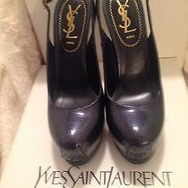 Dark Blue Ysl Yves Saint Laurent High Heel Close Toe Pump Size 6 Photo