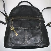 Dark Brown Fossil Leather Backpack Handbag Purse  Photo
