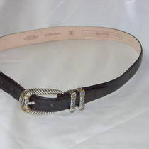 Dark Brown Moc Croc Leather Belt by Fossil Women Sz - S Photo