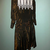 Dark Brown Taffeta Jessica Mcclintock Dress With Sash Size 6 Photo