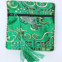 Dark Green Jewelry Pocket Money Silk Zipper Bags Pouches T873a03 Photo