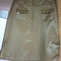 Dark Green Skirt Safari/military Style Tom Tailor Sz 42 L New Photo