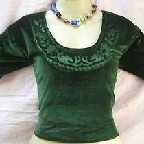 Dark Green Velvet Blouse Top 34