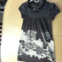 Dark Grey Cream Knit Winter Work Teen Work Dress Roses Size S by One Clothing Photo