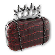 Dark Red Croc Textured Clutch Purse With Knuckle Duster Handle Photo