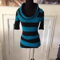 Dark Turquoise and Black Striped Cowl-Neck Top by Express Size Xs  Photo