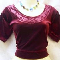 Dark Wine Velvet Blouse Top Sari Gift Sister Mother 36