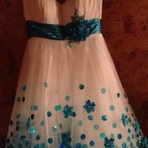 Darling White and Aqua Baby Doll Cocktail Prom or Pageant Dress  Size 0 Photo