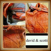 David and Scotti Leather Hobo Bag Extra Large 18x18 Inches 80s Era Vintage Photo