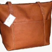 David King Large Leather Tote Travel Book Bag 6 Pocket Tan - 583t Photo