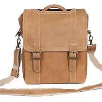 David King Men's Tan Leather Vertical Porthole Messenger Crossbody Bag - 6362t Photo