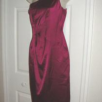 David Meister Dress 100% Silk Size 4 Formal Short Cocktail Dress One Shoulder Photo