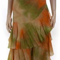David Meister New Green/orange Tye Dye Tiered Wrap Skirt 2 Photo