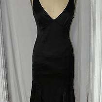 David Meisternicesatin Little Black Fluted Pleated Deep v Dress 6 Photo