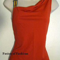 David Meister Orange Buckle Shoulder Top Small Photo