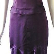 David Meister Purple Strech Satin Dress Fluted Hem Spaghetti Straps Size 2       Photo