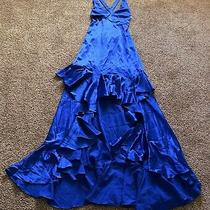 David Meister Royal Blue Satin Tiered Ruffled Front Corset Back Evening Gown 8 Photo