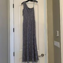 David Meister Women's One Shoulder Grey Lace Evening Gown Size 4 Nwt Photo