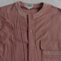 David Michaels Men's 100% Pure Silk S/s Button Down Blush Pink Shirt - Large Photo