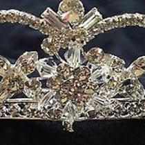 David's Bridal Silver Tiara Swarovski Crystals Bridal or Prom Brand New Photo