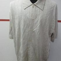Davis for Men Chicago Off White Shimmer Polo Button Front Rayon Sweater Sz Xxl Photo