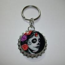 Day of the Dead Goth Fancy Bling Bottle Cap Keychain Purse Charm Zipper Pull Photo
