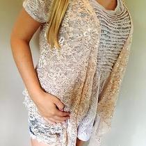 Daytrip the Buckle Blush Sequin Lace Open Face Vest Over Piece Top M Photo
