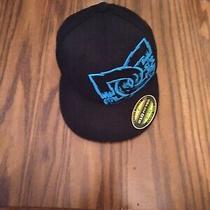 Dc Surf Hat  Flat Brim Hat Fits 6 1/2 to 6 7/8  Black / Neon Blue Photo