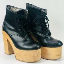 Deandri Platform Boots Sz 6 Black Leather Club Wear Wood Soled Jeffrey Campbell Photo