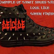 Deicide Metal Rock Custom Studded Converse Chuck Shirt Shoes Sneakers W Spikes Photo