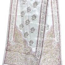 Delicate Oscar De La Renta Small Floral Prints Gray Pink Crepe Silk Long Scarf Photo
