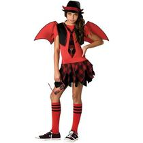 Delinquent Devil Costume Kids School Girl With Wings Halloween Fancy Dress Photo