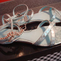 Delman Seafoam Silver Flat Sandals 7.5 Nib 275 Sadie Beaded Light Blue Metallic Photo
