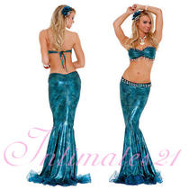 Deluxe Mermaid Costume Set Foil Bra Top  Skirt  Fancy Party Dress V81032  Photo
