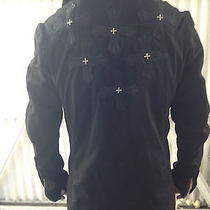 Demon Riff Mens Leather Cross Jacket Sterling Silver and Lamb Skin Embroidered. Photo