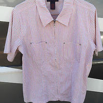 Denim and Co Blush Pink Seersucker Zip Front Camp Shirt Size Large Some Damage Photo
