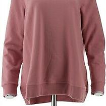Denim & Co Brush Back Terry Long-Sleeve Pullover Top Rose Blush M New A344048 Photo