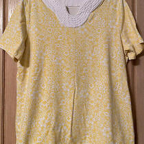 Denim & Co Casual Tunic Top Yellow/white Size M Photo