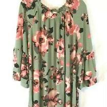 Denim & Co. Floral Peasant Shirt Sage & Blush Sz 1x Bell Sleeve Stretch Women  Photo