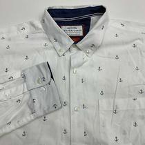 Denim & Flower Button Up Shirt Men's Size Xl Long Sleeve White Blue Anchor Print Photo