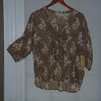 Denim Supply Ralph Lauren Taupe Blush Ivory Floral Top Shirt Size M Nwt 89.50 Photo