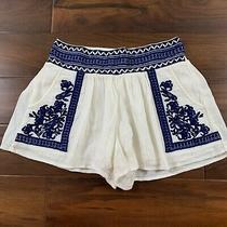 Denim & Supply Ralph Lauren Women's Size Xs Cream Blue Embroidered Gauze Shorts Photo